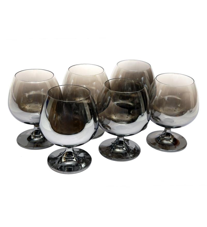 Bar World Fancy Metallic Glass 400 ML Brandy Glasses - Set of 6