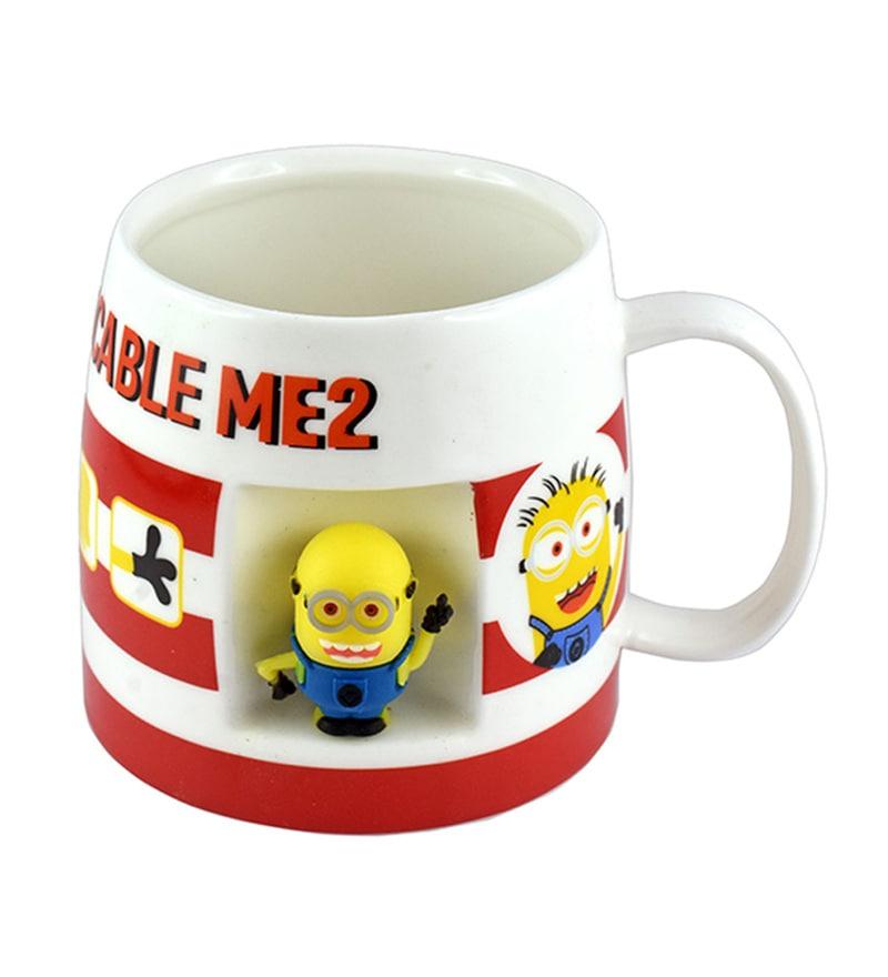Bar World Minion Multicolour Ceramic 420 ML Mug - Set of 2