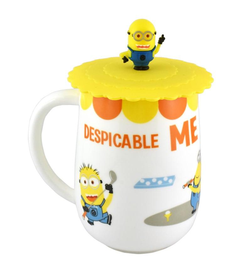 Bar World Minion White & Yellow Ceramic & Plastic 600 ML Mug with Lid - Set of 2