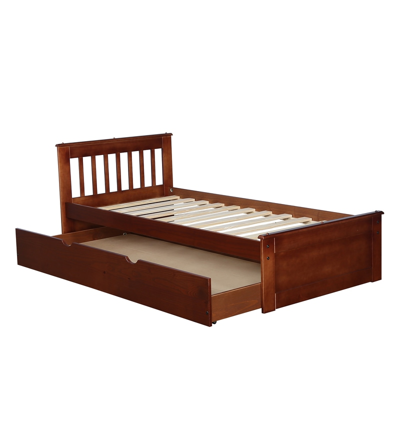 Buy Basilica Solid Wood Single Bed With Trundle In Natural