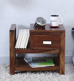 Oriel Bed Side Table With Book Shelf In Provincial Teak Finish