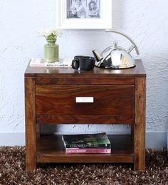 Oriel Solid Wood One Drawer Bed Side Table In Provincial Teak Finish ...