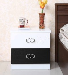Monza Bedside Table In Black White Finish