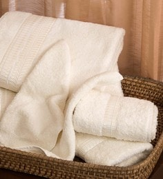 Beige 100% Cotton Bath, Hand & Face Towels - Set Of 6