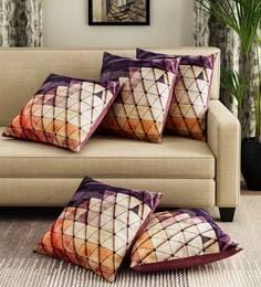 Beige/Blue Velvet Digital Print Set Of 5 Cushion Covers