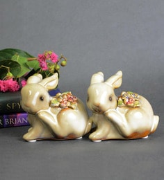 Beige Ceramic Extremely Cute Pair Of Rabbits Showpieces