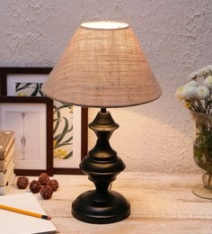 Beige Cotton & Stiffener Table Lamp By New Era