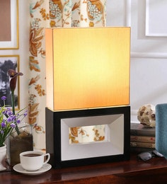 Beige Cotton Fabric Day & Night Table Lamp