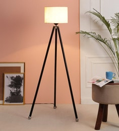 Beige Fabric Floor Tripod Lamp - 1693604