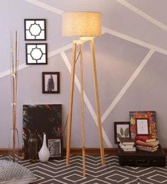 Beige Linen Floor Lamp - 1630921