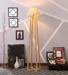 Beige Linen Floor Lamp - 1630947