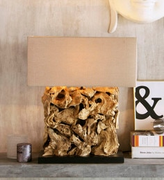 Beige Linen Recta Rooterie Bleached Finish Table Lamp