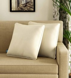 Beige Polyester 16 X 16 Inch Cushion Covers - Set Of 2