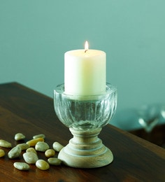 Beige Wood And Glass Candle Holder