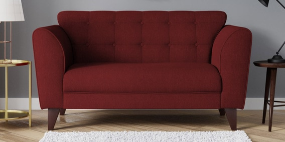 Belem Two Seater Sofa In Garnet Red Color By Casacraft