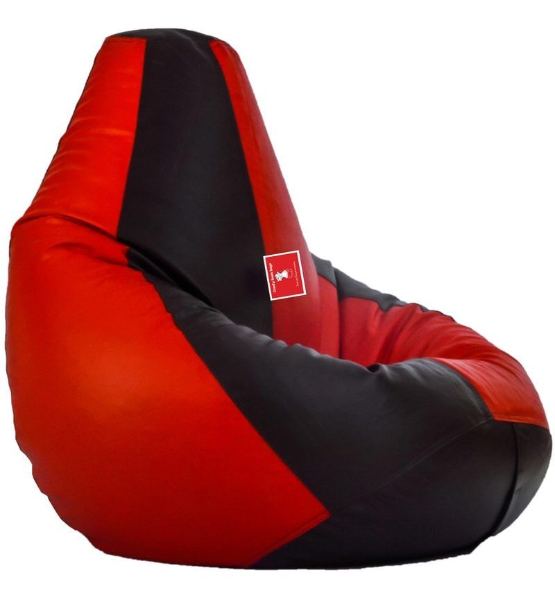 Bean Bag Cover in Black & Red Colour by Comfy Bean Bags