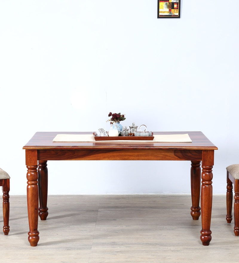 Beaufort Six Seater Dining Table in Honey Oak Finish by Amberville