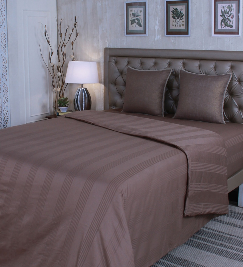 Beige 100% Cotton Queen Size Duvet Cover by Mark Home