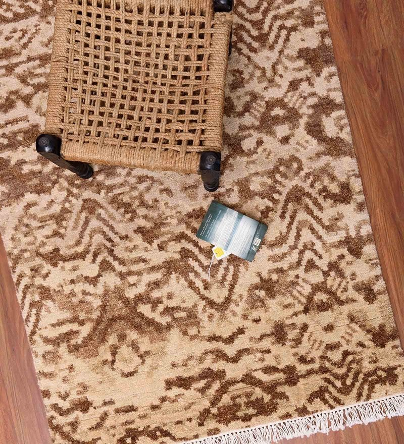 Beige and Brown Woolen 59 x 42 Inch Area Rug by Carpet Overseas