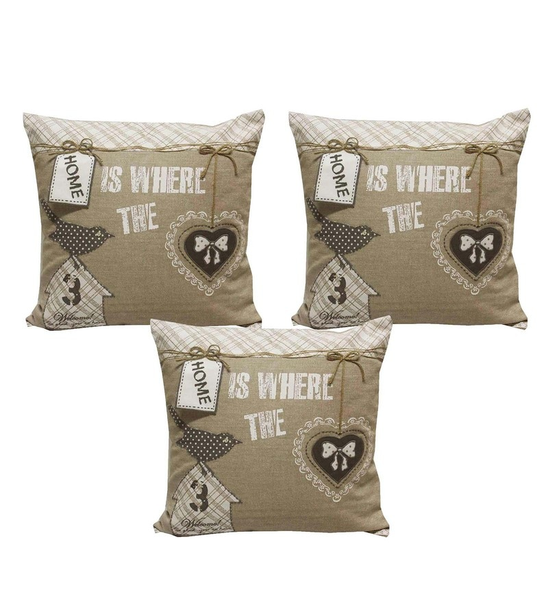 Beige Cotton 16 x 16 Inch Cushion Covers - Set of 3 by R Home