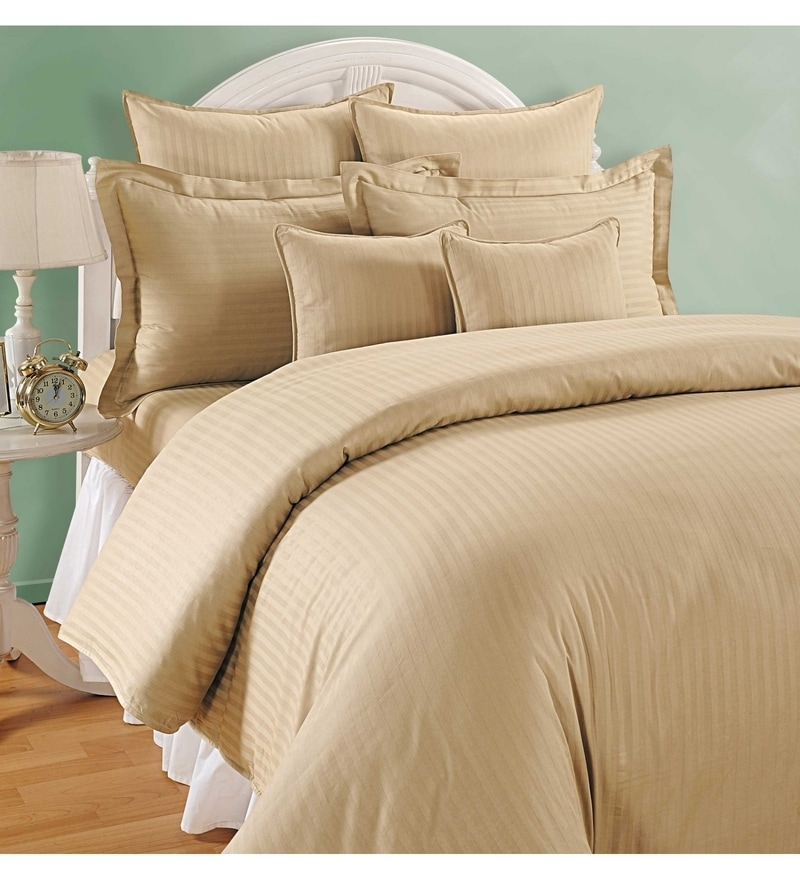 Beige Cotton King Size Bedsheet - Set of 3 by Swayam