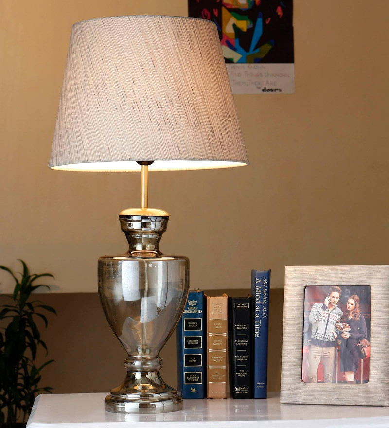 Beige Cotton Table Lamp by Anasa