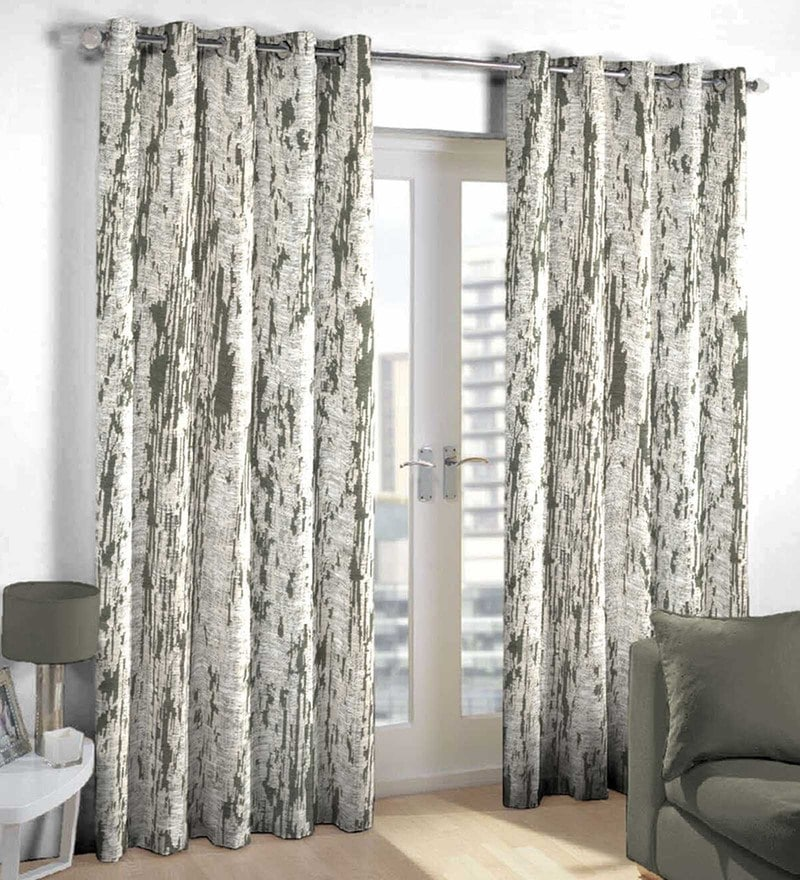 Beige Poly Cotton Door Curtain by Skipper