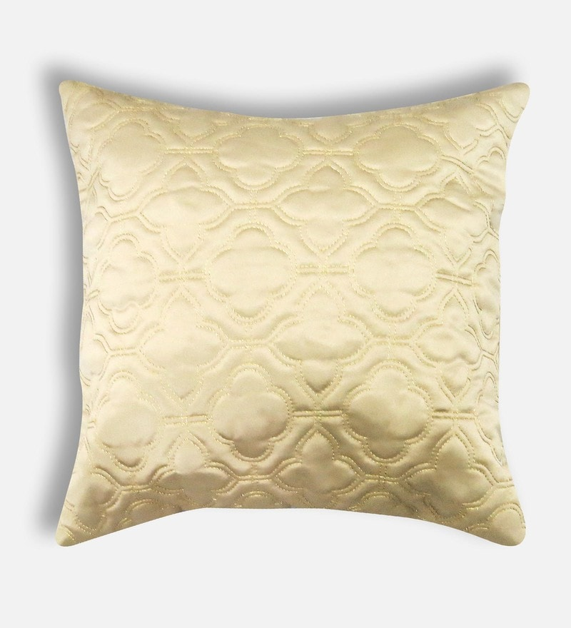 Beige Polyester 16 x 16 Inch Cushion Cover by Skipper
