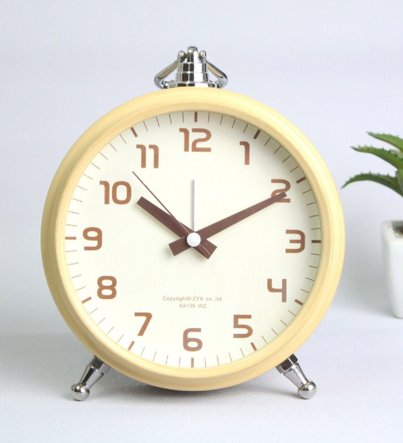 Beige Steel 5 x 2 x 6 Inch Fashion Classic Rustic Luminous Vintage Alarm Clock by NestRoots