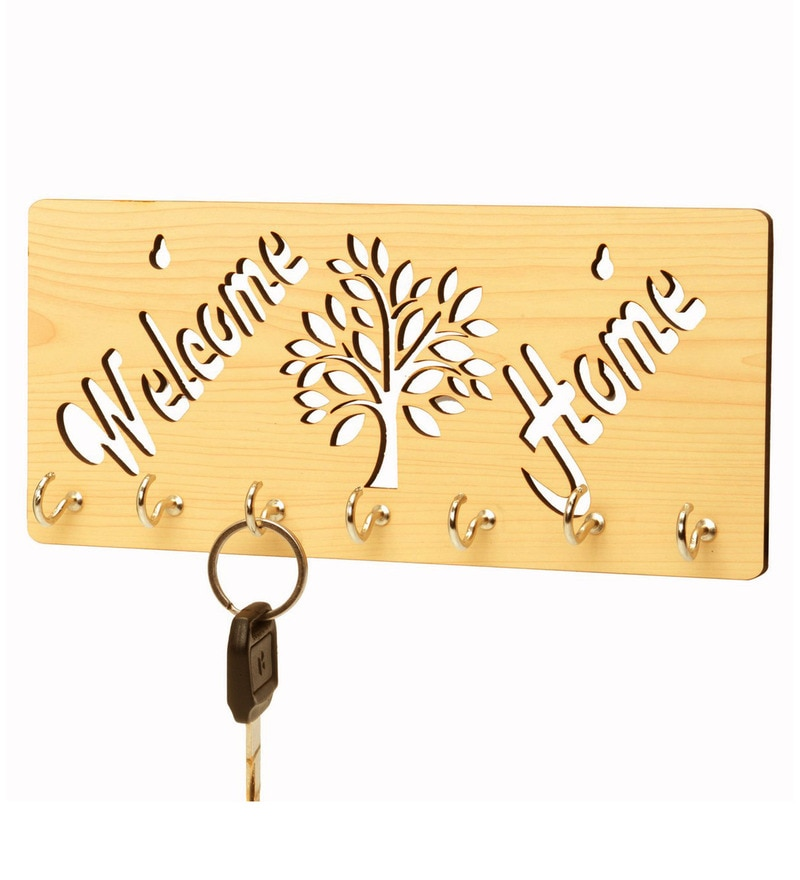 Beige Welcome Home Wooden 7 Hooks Key Holder by Sehaz Artworks