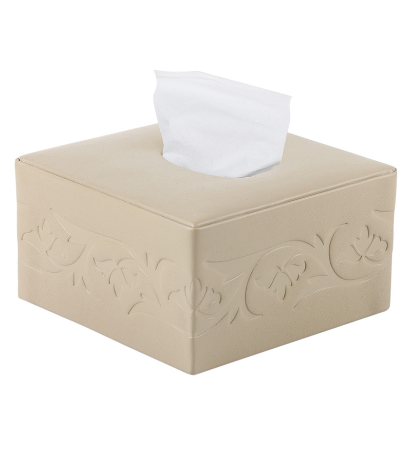 Belmun Smooth 3 Petal Floral Embossed Square Beige Leatherette Tissue Box