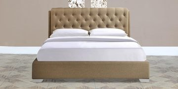 Birmingham Queen Size Upholstered Bed In Latte Finish