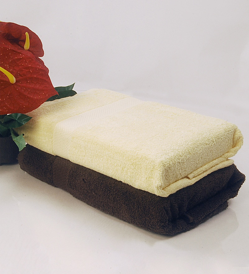 BIANCA Yellow & Chocolate 100% Terry Cotton Bath Towel - Set of 2