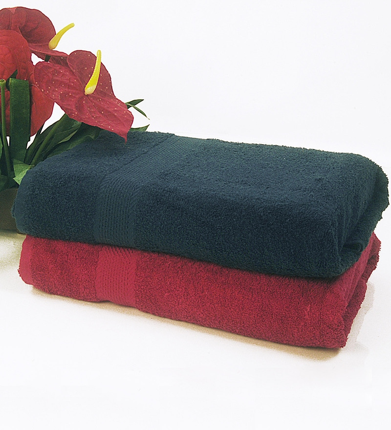 BIANCA Navy & Burgundy 100% Terry Cotton Bath Towel - Set of 2