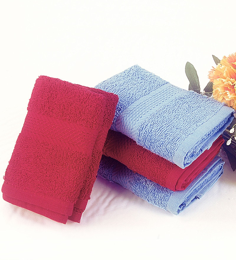 Bianca Multicolour Terry Cotton 24 X 16 Hand Towels - Set of 4