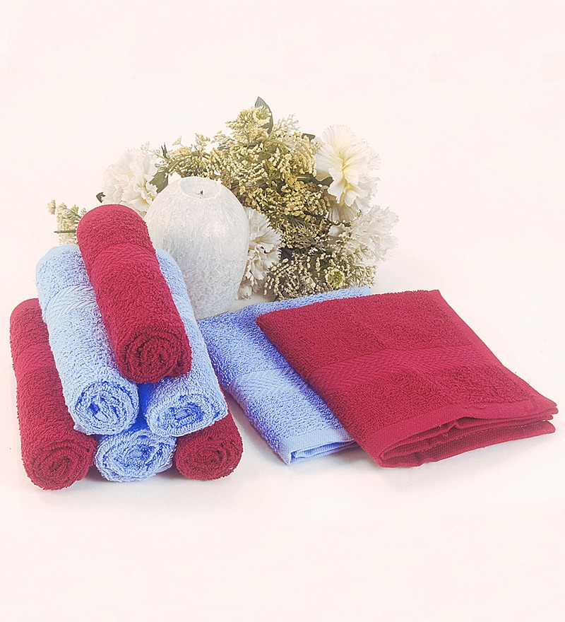 BIANCA Burgundy & Sky Blue 100% Terry Cotton Face Towel - Set of 8