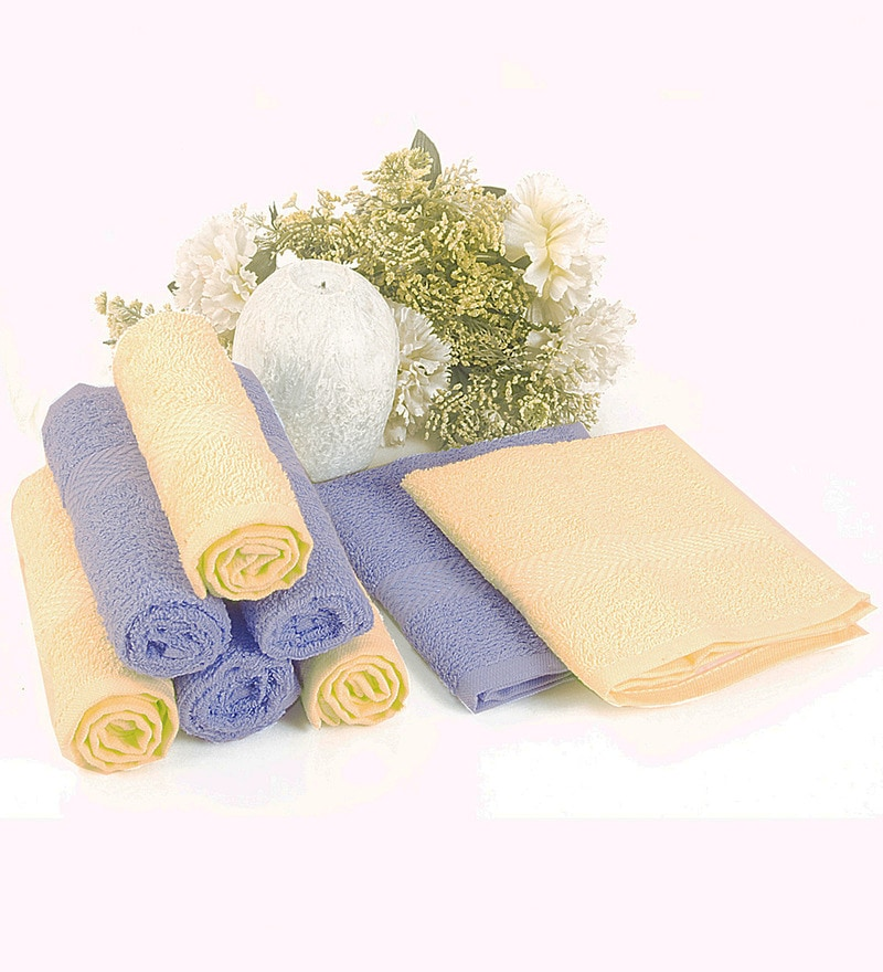 BIANCA Yellow & Sky Blue 100% Terry Cotton Face Towel - Set of 8