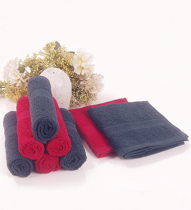 BIANCA Navy & Burgundy 100% Terry Cotton Face Towel - Set of 8