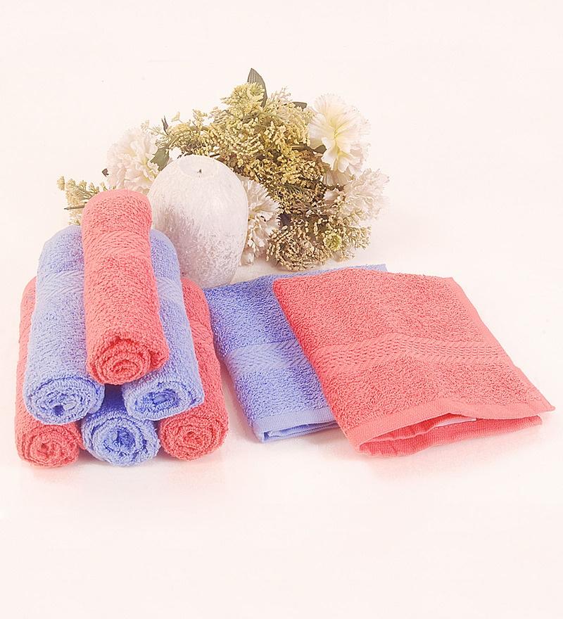 BIANCA Coral & Lavender Cotton Face Towel - Set of 8