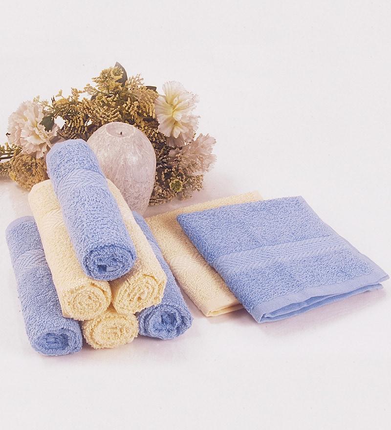 BIANCA Sky Blue & Yellow 100% Terry Cotton Face Towel - Set of 8