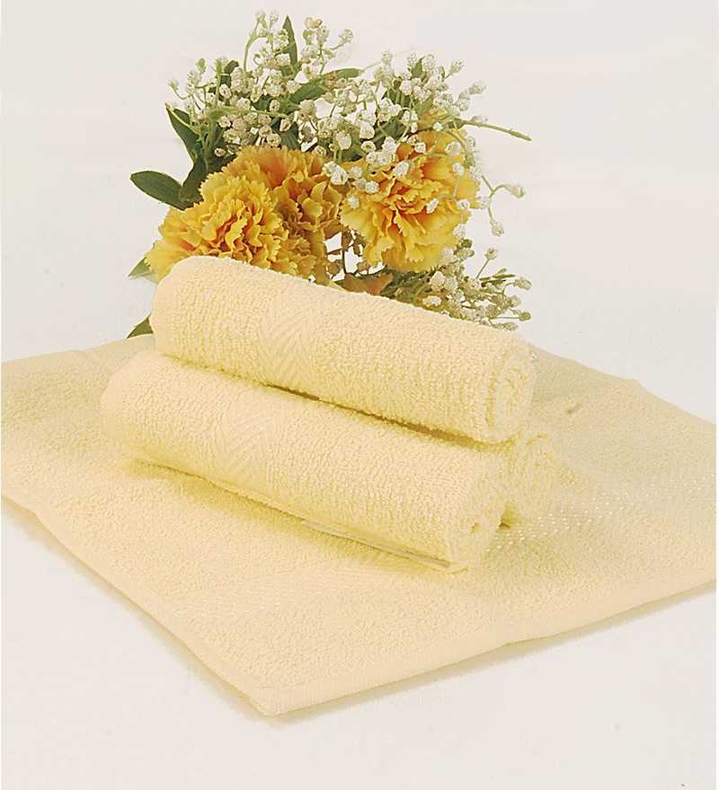BIANCA Yellow Terry Cotton Face Towel - Set of 4