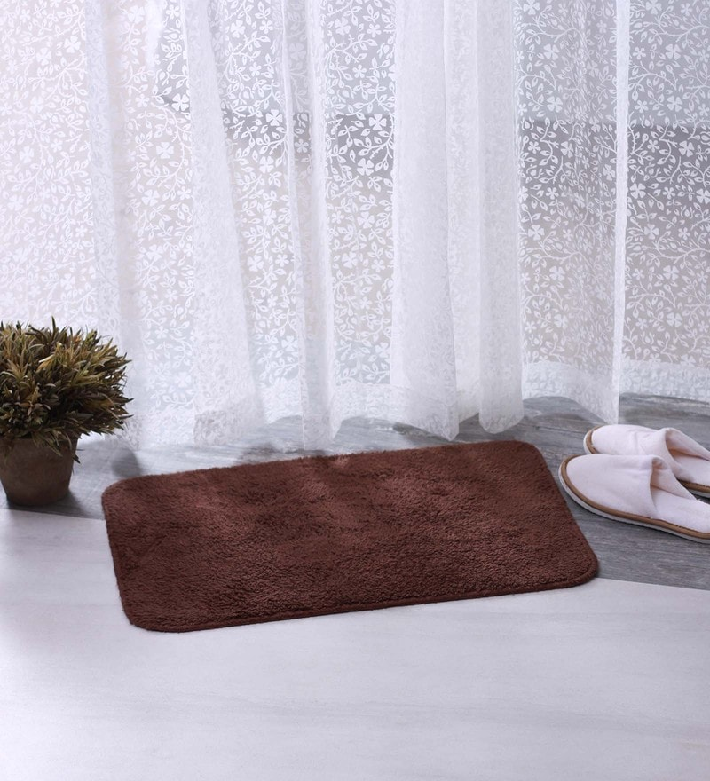 Brown & Maroon 100% Cotton 16 X 24 Bath Mat - Set of 2 by BIANCA