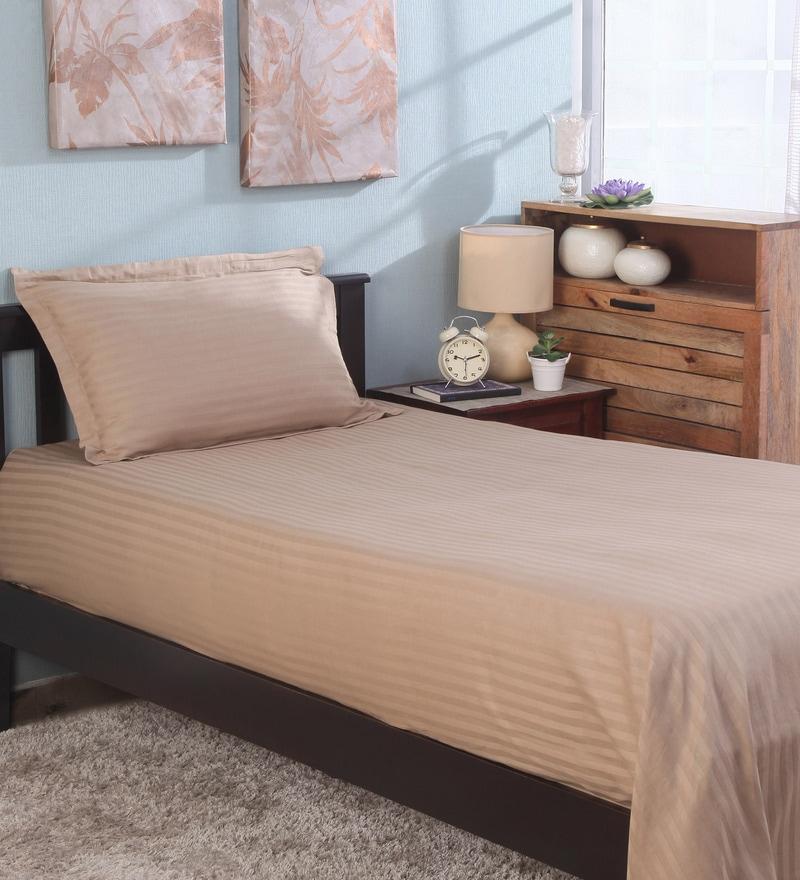 Bianca Brown 100% Cotton Single Size Bedsheet - Set of 2