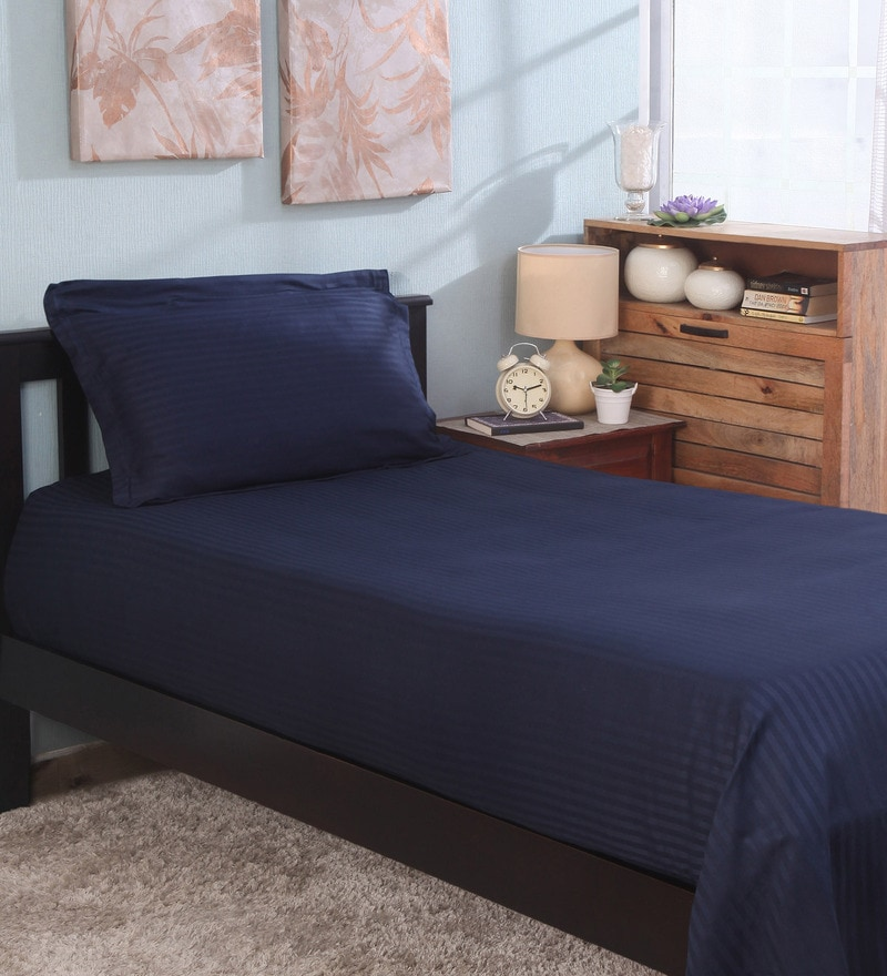 Bianca Navy Blue 100% Cotton Single Size Bedsheet - Set of 2
