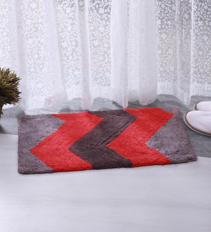 Red & Grey 100% Cotton 16 X 24 Bath Mat - Set of 2 by BIANCA