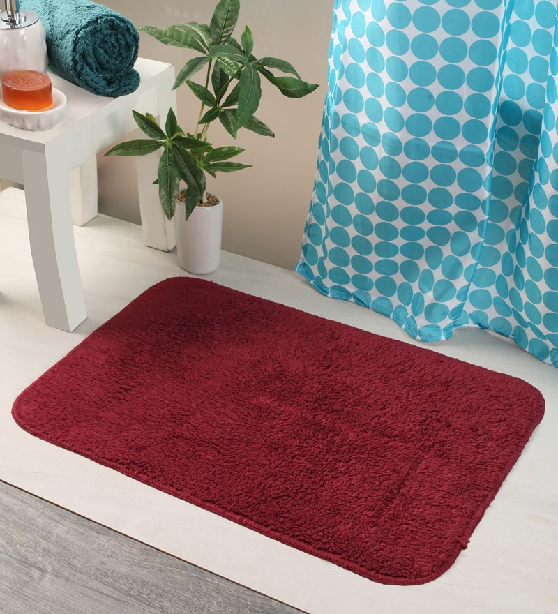Bianca Reds Cotton 24 X 16 Bath Mat 1 Pc