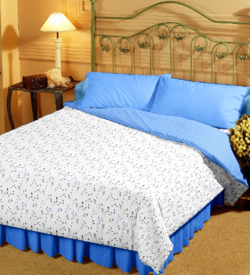 Bianca White and Blue 100% Cotton 55 x 87 Inch Super Soft Reversible Single Dohar