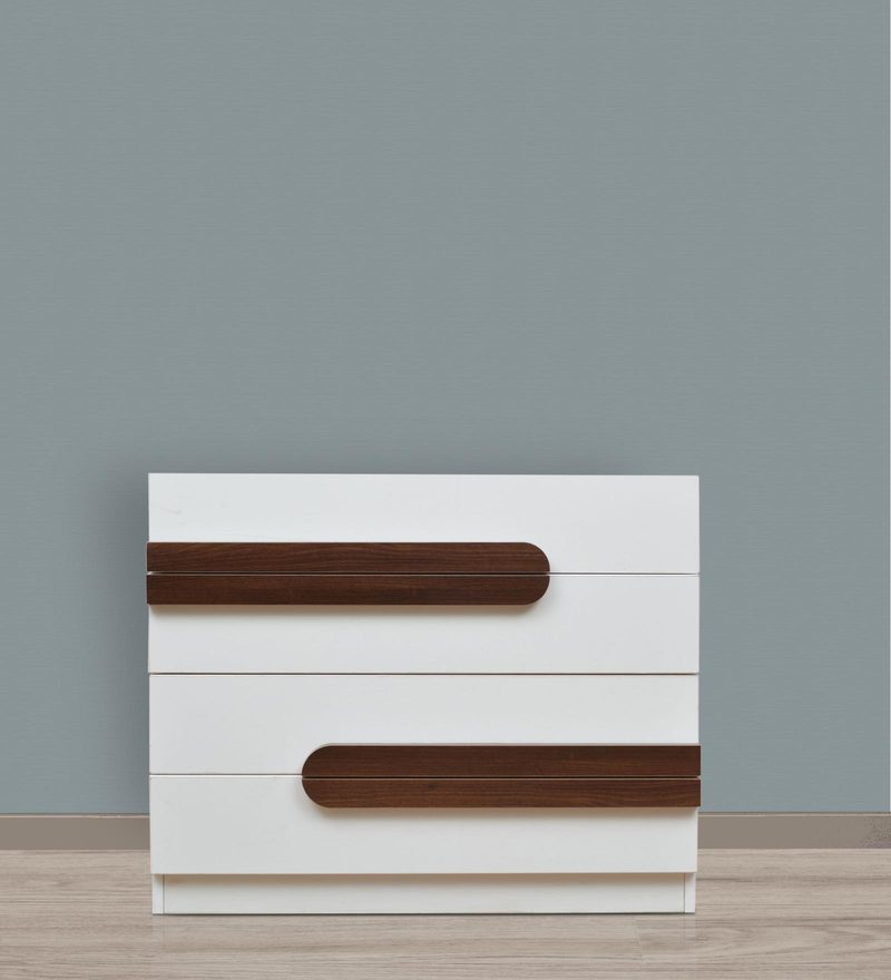 Bianco Chest of Drawers in Frosty White & Walnut Finish by Crystal Furnitech