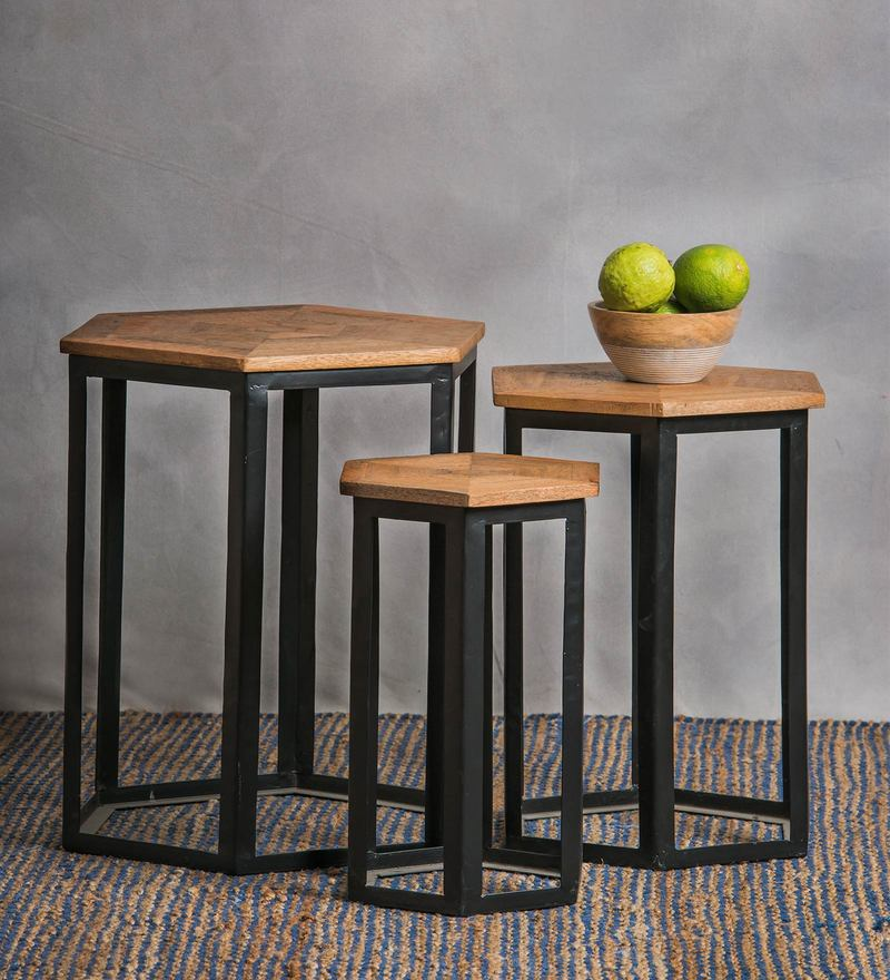 Bizet Set of Tables in Natural Finish by Bohemiana