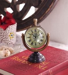 Black & Gold Brass & Acrylic Table Clock